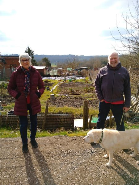Jane Milner Barry and Neil Hopkins visiting the new allotments